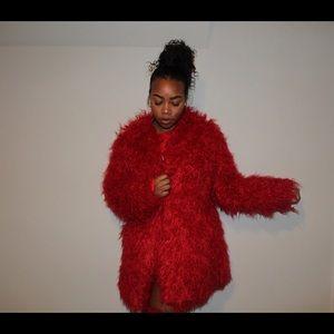 Jackets & Blazers - Red Furry Jacket
